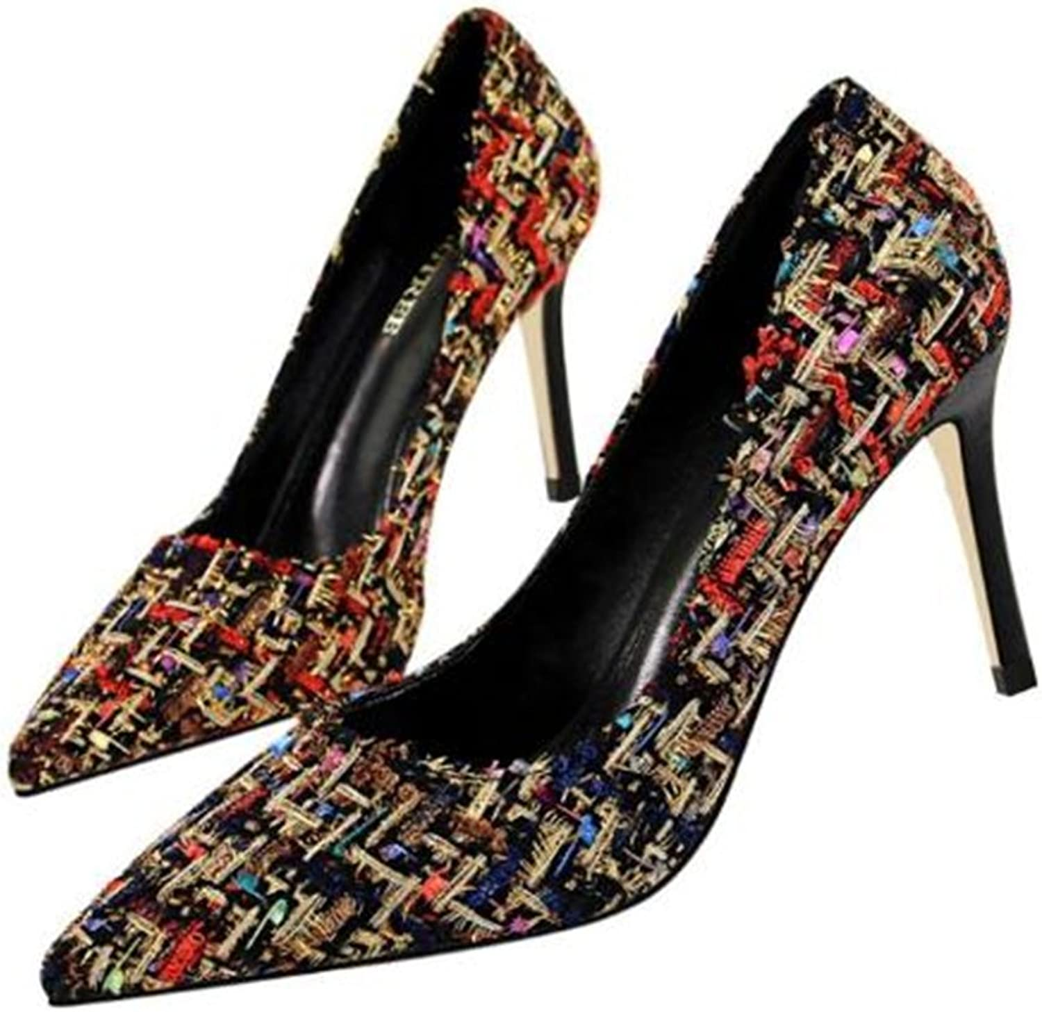 TUYPSHOES Spell color Pattern shoes Pointy Stilettos Work shoes Party Heels Pumps