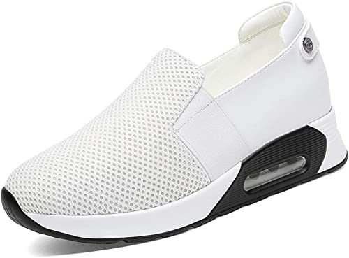 YAN Casual Chaussures Femmes Nouveau Printemps Mocassins Et Slip-Ons Chaussures De Course en Maille Antidérapantes Chaussures Sportives Chaussures De Marche en Plein Air Noir Blanc