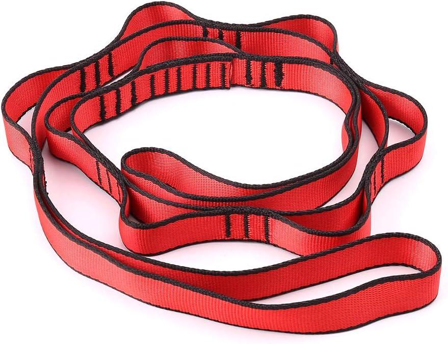 ruiruiNIE Escalada Nylon Daisy Cadena De Cuerda con Bucles Yoga Hamaca Colgante Correa Bandlet - Rojo
