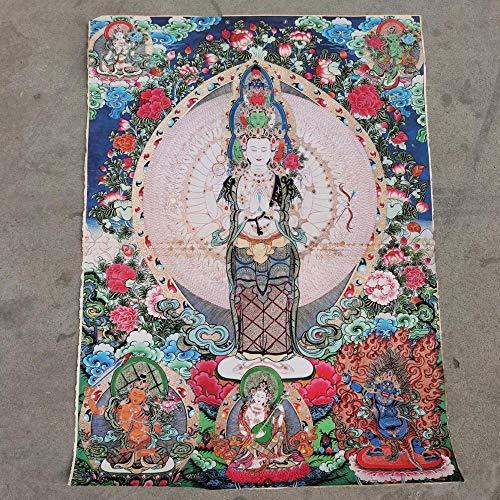U D Thangka 35 THANGKA Kraft Papier Peint au Tibétain Bouddhisme Népal Mille Main Guanyin Bodhisattva Mille Bouddha Head Papier Kraft Thangk