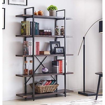 Homissue 5-Shelf Industrial Bookshelf and Bookc...