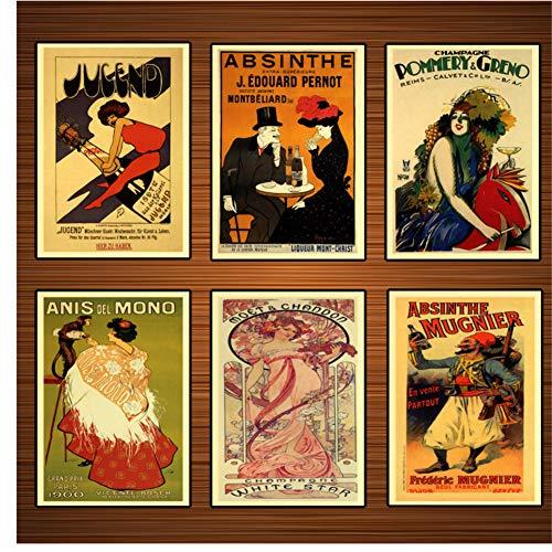 Vintage alcoholische dranken wijn poster absint klassieke canvas schilderijen print muur posters home decor gift-40x50x6pcscm geen frame