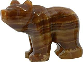 "Rustic Amber Onyx Aragonite Bear, 3.5"" Tall (1.5lbs), Carved from Real North American Onyx Aragonite - The Artisan Mined Series by hBAR"