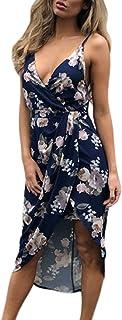 Dearlove Women`s Wrap V Neck Spaghetti Strap Floral Split Beach Casual Dress