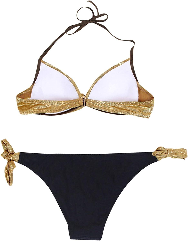 SSYUNO Women Sequined Patchwork Swimwear Beach Push Up Bikini Set Brazilian Swimsuit 2 Piece Bathing Suits for Women