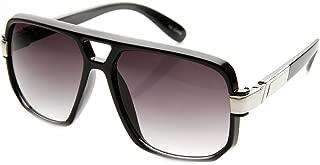 zeroUV - Classic Square Frame Plastic Flat Top Aviator Sunglasses
