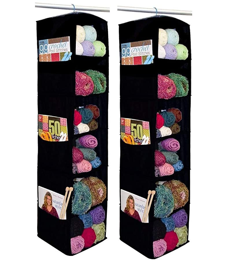 Yarn Storage 2-Pack: Innovative Home Creations 6-Shelf Yarn and Craft Organizer, Black, 4850-BLK