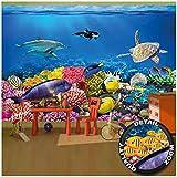 Great Art Children's Room Wall Mural – Aquarium – Mural Decoration Underwater World Sea Dweller Ocean Fishes Dolphin Turtle Coral Reef Wallpaper Photoposter Decor (132.3 x 93.7 Inch / 336 x 238 cm)