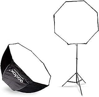 صندوق سوفت بوكس مظلة ثماني محمولة 80 سم 80 سم 31.9 سم، حامل ضوء 190 سم مع حامل حذاء ساخن ومجموعة دعامات للفلاش Speelidte