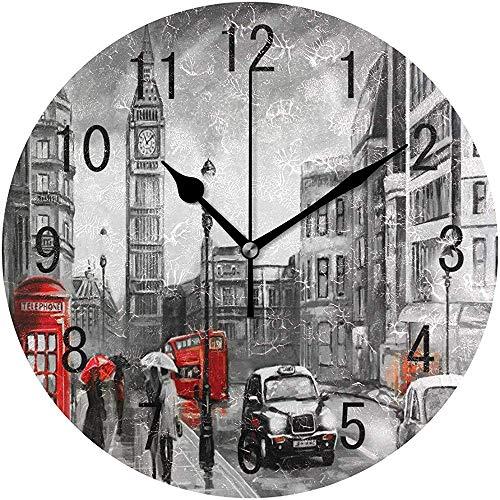 Big Ben London Wanduhr aus Holz, rund, für Wohnzimmer, Küche, Schlafzimmer, Büro, Schule,