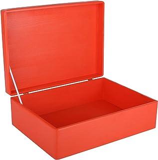 Creative Deco XL Boîte de Rangement en Bois Grande Rouge | 40 x 30 x 14 cm (+/- 1 cm) | Caisse Coffre Malle à Décorer avec...