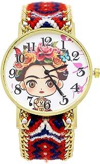 Reloj Frida Kahlo Dibujo con Correa de tela ajustable Multi Color Movimiento Análogo