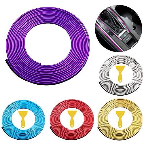 Tiras líneas de molduras lnterior del coche,5M Lnterior del coche decoración línea de moldura Car interior molduras tiras,para todos los coches (Purple)