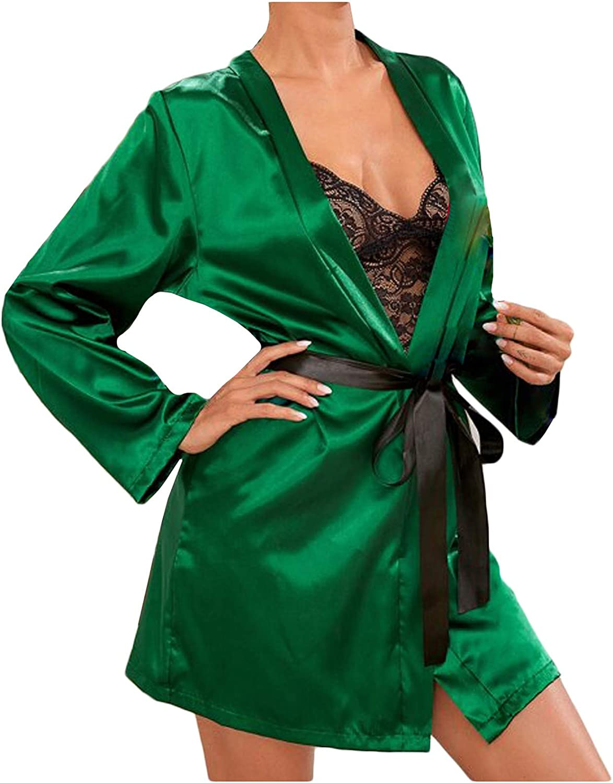 Forwelly 3 Piece Nightwear Set Women Sexy Satin Pajamas Camisole Shorts Robe with Belt Lingerie Sleepwear