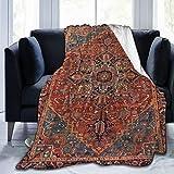 SARA NELL Emliyma Bidjar Antique Kurdish North West Persian Rug Blanket,Tribal Vintage Flannel Fleece Blanket For Kids Teens Adults,Soft Cozy Warm Fuzzy Throws Blanket For Bed,Couch,Chair,50 X 40 Inch