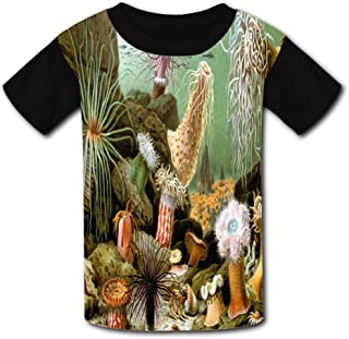 3D Coral Marine Life Child Short Sleeve Fashion T-Shirt of Boys and Girls