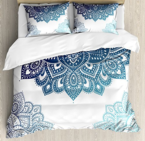 Ambesonne Flora Duvet Cover Set, South Mandala Design with Vibrant Color Ornamental Illustration, Decorative 3 Piece Bedding Set with 2 Pillow Shams, Queen Size, Blue
