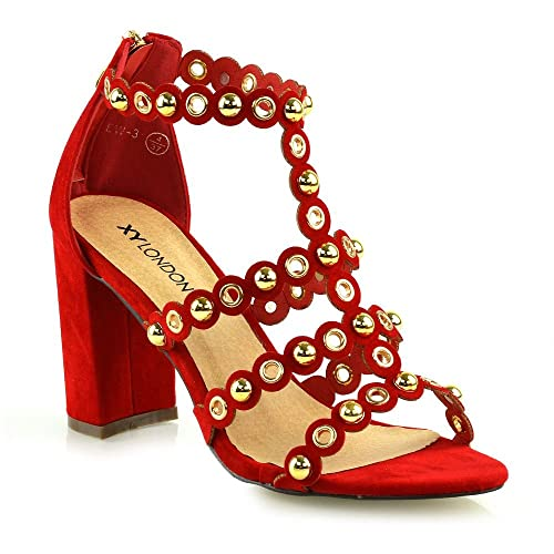 fed8536976ecf1 ESSEX GLAM Womens Chunky Block Mid High Heel Sandals Ladies Studded Straps  Zip Party Prom Faux