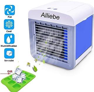 Alliebe Personal Air Cooler Mini Portátil Aire Acondicionado Ventilador Ventilador Ventilador Personal USB Table Fan Pequeño Evaporativo Enfriador Humídrico de Aire