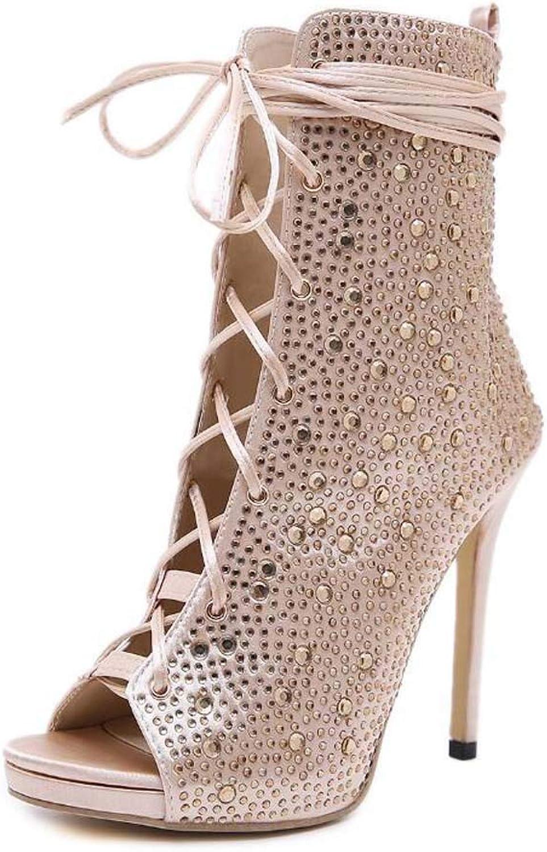 Mamrar Rheinestone Cool Stiefelies Frauen Sexy Peep Toe Cross Straps Hollow Party Dress Schuhe Roma-Schuhe Eu Gre 35-40