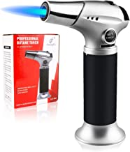 Blow Torch Lighter, Culinary Torch, Refillable Kitchen Butane Torch with Safety Lock and Adjustable Flame for DIY, Creme Brulee, BBQ and Baking, Butane Gas Not Included, Black