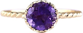 1.5 Carat Natural Violet Amethyst 14K Yellow Gold Solitaire Promise Ring for Women Exclusively Handcrafted in USA
