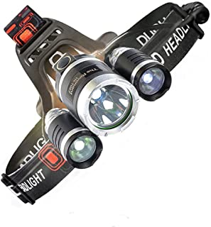 LED Headlamp, 6000 Lumens Max 4 Modes Waterproof Head Flashlight Light with 2 Rechargeable Batteries, USB Cable, Wall Charger and Car Charger for Running or Camping Outdoor Sports