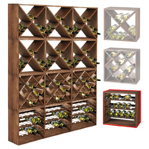 Sistema botellero CUBE 50 módulo 1, pino tabaco, máx. 15 botellas, apilable/ampliable - alt. 50 x anch. 50 x pr. 25 cm