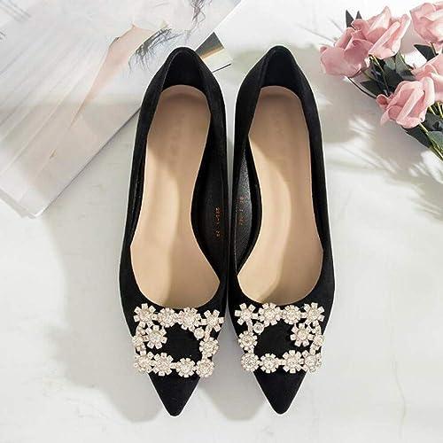 XL_nsxiezi Stiletto Puntiagudo Solo zapatos Rhinestone Femenino Hebilla Cuadrada Boca Baja