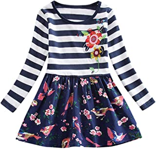 SRYSHKR-Beauty Baptism Gifts for Baby Girl,Toddler Baby Girls Kid Flower Embroidery Striped Splice Casual Long Sleeve Dress