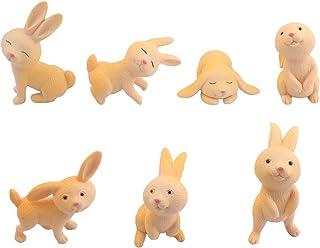 AUEAR, 7 Pack Miniature Rabbit Furniture Bunny Animal Playset Fairy Garden Decoration Cake Decorating