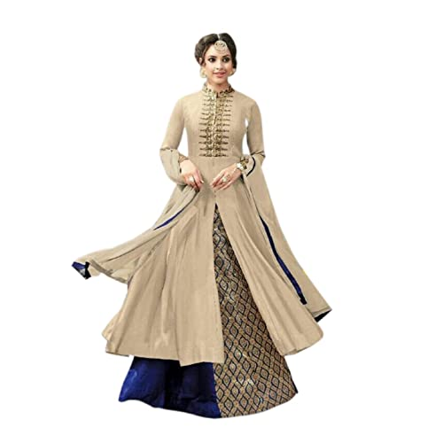 7491c2d9644d Aika Fashion Women s Cotton Banglori Silk Semi Stitch Lehenga Choli  (S013-Kesari-Cream-