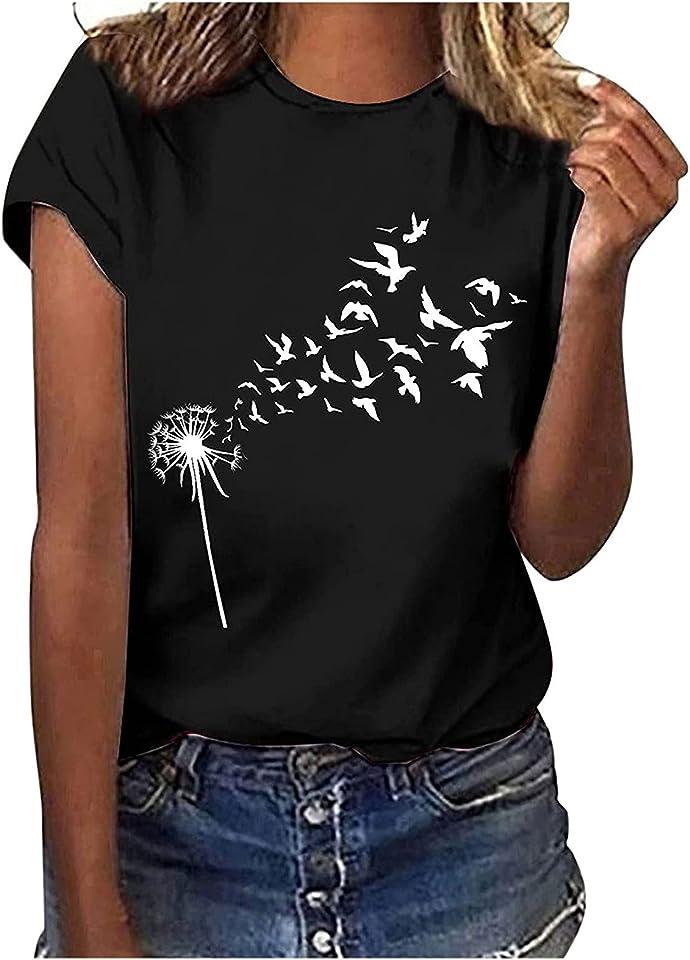 Tshirt Oberteile Damen Elegant Sommer Kurzarm Schmetterling Drucken T Shirt Weiß Damen mit Aufdruck Tee Tops Casual Basic Shirts Rundhals Teenager Mädchen Frauen Hemdbluse Sport Tshirt Damen Fitness