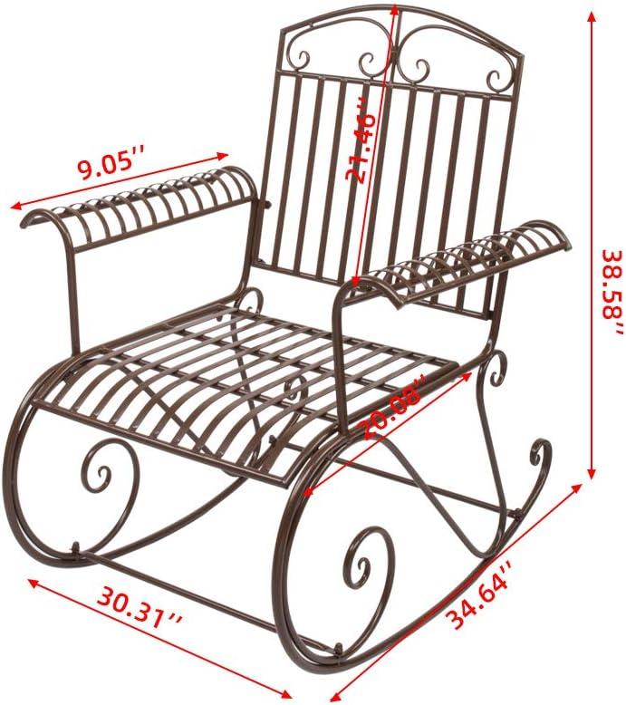 Firlar Outdoor Rocking Chair Metal Rocking Arm Chair Porch Rocker Single Solid Leisure Chair Comfortable Outdoor Furniture for Garden Backyard Dark Brown