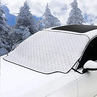 Homiar Car Snow Cover – Car Windshield Snow Cover,Magnetic Windshield Cover Cotton Thicker Snow Protection Cover Ice Removal Wiper Visor Protector All Weather Winter Summer Cars Trucks Vans SUVs