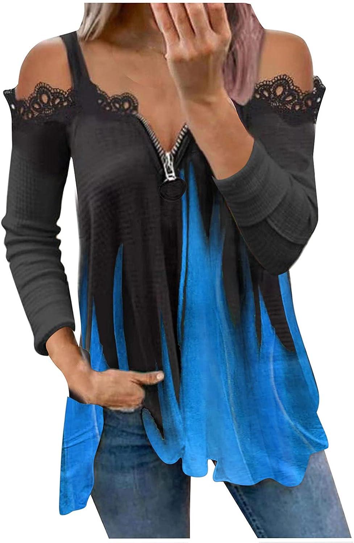 Fashion Womens Tie-Dye Blouse V-Neck Lace Shoulder Printed Long Sleeve Zipper V-Neck T-Shirt Tops