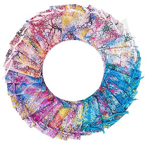 Phoetya 100 Stück Organza Geschenktüten, 7 x 9 cm Korallenmuster Organza Taschen Kordelzug Candy Bag Mischfarbe Hochzeitsbevorzugungstaschen Schmuckbeutel für Hochzeitsfeier Babyparty 4 Farben