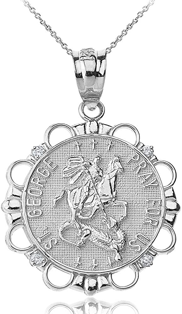 Sterling Silver St. George Pray For Round Rapid rise Large-scale sale Necklace Us Medal CZ