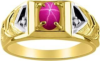 Diamond & Star Ruby Ring 14K Yellow or 14K White Gold