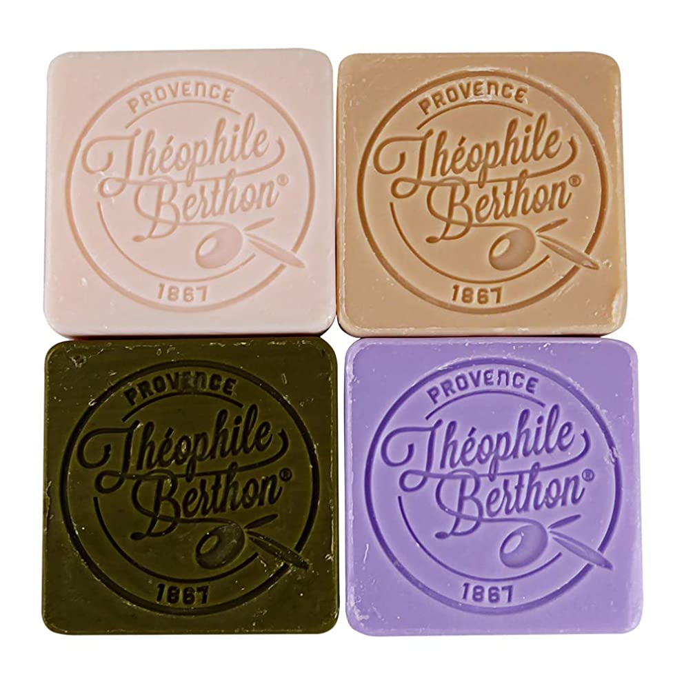 Theophile Berthon Scented Marseille Bar Soap Gift Box Lavender, Argan, Olive, Rose 4 x 50g (4x1.76oz)