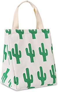 Buringer Insulated Lunch Bag with Inner Pocket Printed Canvas Fabric Reusable Cooler Tote Box for Ladies Woman Man School Work Picnic (Large Cactus)