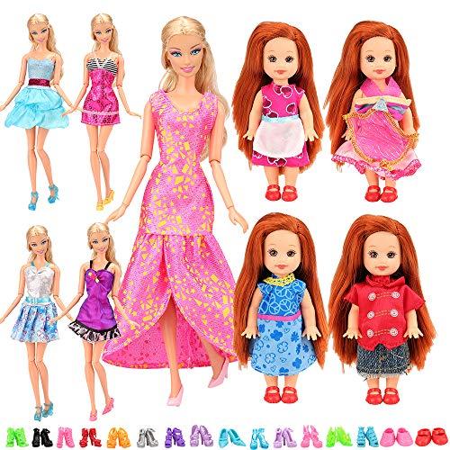 Miunana Lot 27 = 5 Kleider + 2 Schuhe für 4 Zoll/ 10-11 cm Chelsea Puppen + 10 Kleidung +10 Schuhe für Barbie