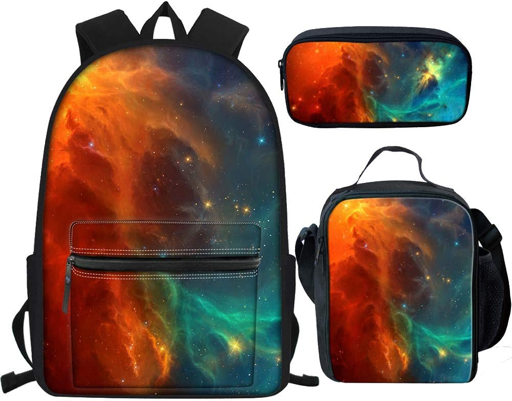 BIGCARJOB Unisex Outdoor Travel Backapck 3 in 1 Sets Galaxy Designs Fashion Laptop Bookabags for College Kids