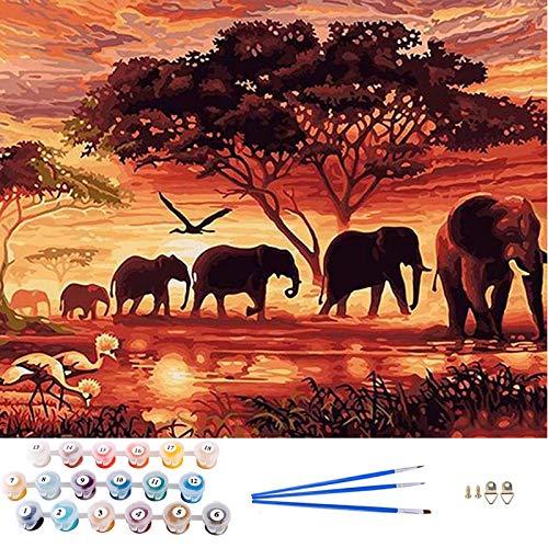 APERIL Pintar por Numeros Adultos Niños DIY Pintura por Números con Pinceles y Pinturas-16 * 20 Pulgadas, Sin Marco (Style E)