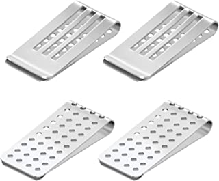 7-Star Stainless Steel 4 Pack Silver Money Clip , Credit Card Business Card Holder , Minimalist Front Pocket Hollow Wallet...