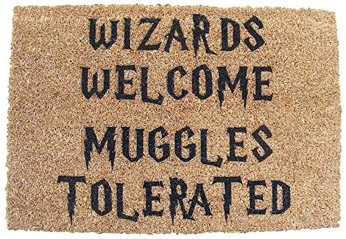 HARRY POTTER INSPIRED WIZARDS WELCOME MUGGLES TOLERATED DOOR MAT