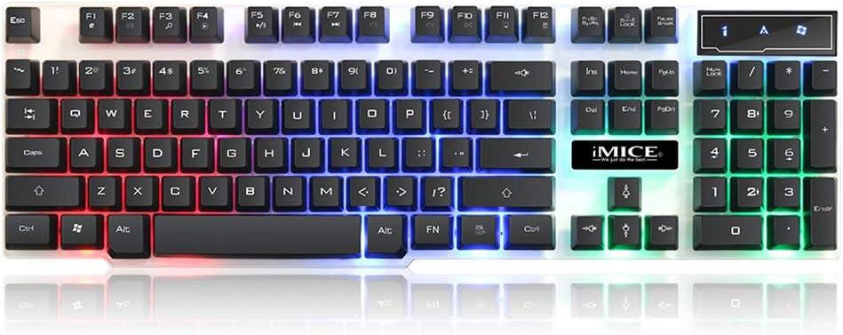 ZUEN Teclado para Juegos, USB con Cable, luz de Fondo de 3 ...
