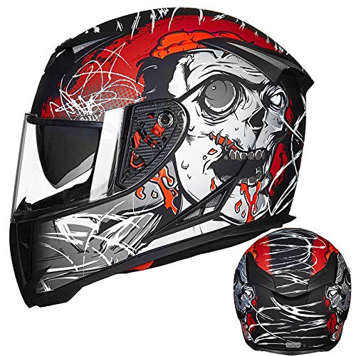 Motorhelm volledige dekking locomotief volledige helm lente en zomer anti-condens dubbele lens mountainbike helm-M_Matte zwart rood (anti-condens lens)