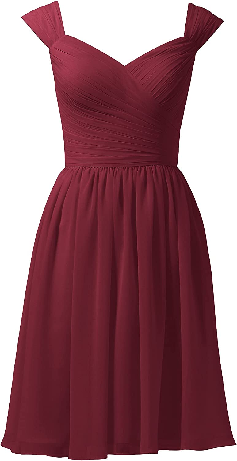 ALICEPUB Chiffon Bridesmaid Dresses Short Party Homecoming Dress with Queen Anne Neck