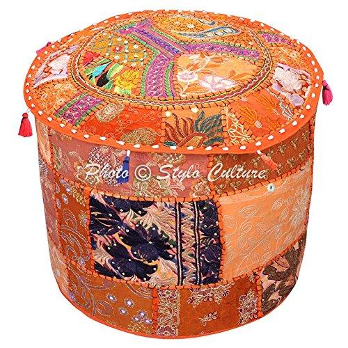 Stylo Culture Pouf Sitzbank Vintage Hocker Bank Große Abdeckung Orange Indische Bestickte Patchwork Baumwolle Traditionelle Runde Stoff Hocker Ottomane Abdeckung (22x22x13 Zoll) 55 cm